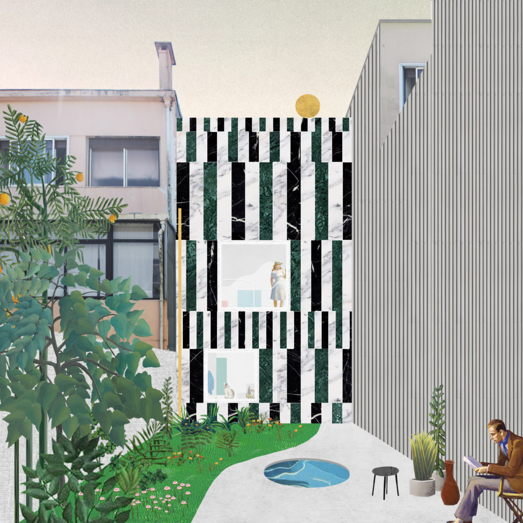 House in Rua do Paraíso by Fala Atelier. Architectural collage.