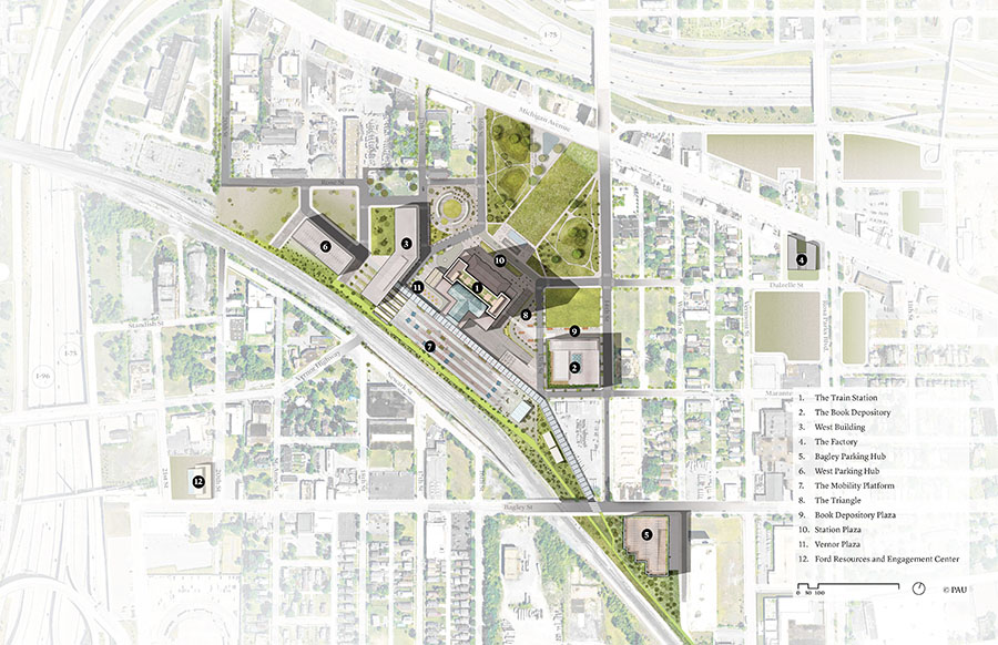 Courtesy Of Practice For Architecture And Urbanism (pau) 01a Michigan Central Site Planweb