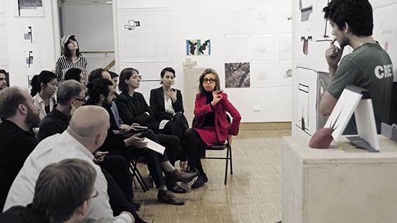 Diane Lewis critiques a student project|Diane Lewis