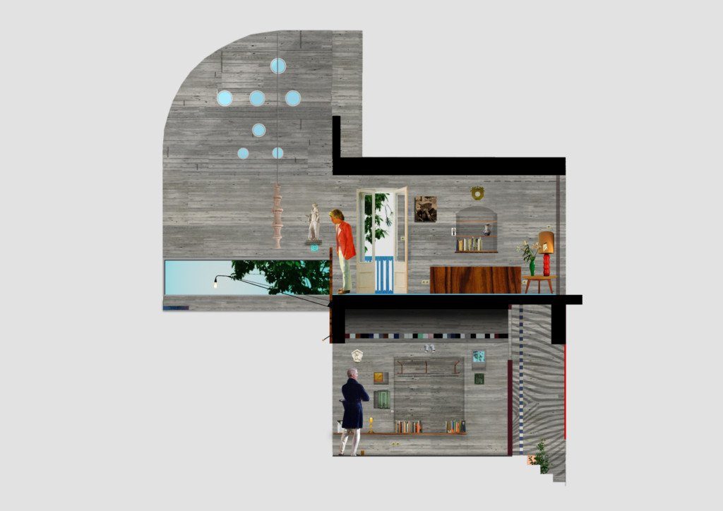 Petralona House by Point Supreme Architecture. Architectural collage.