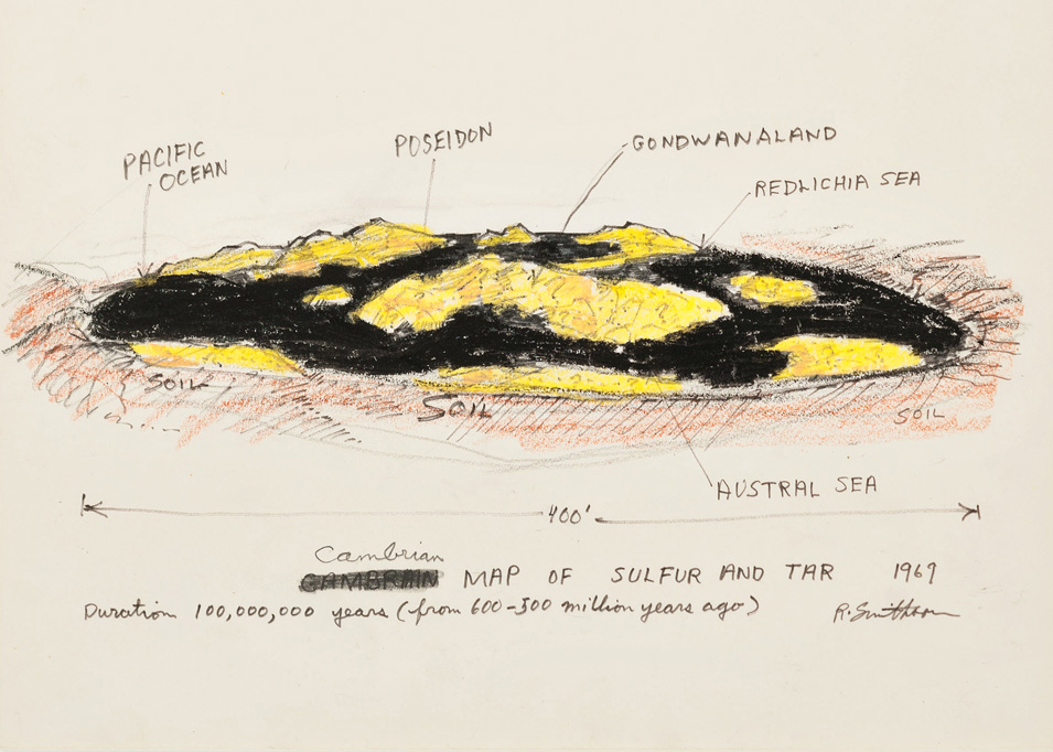 Robert Smithson Cambrian Map Of Sulfur And Tar 1969crop