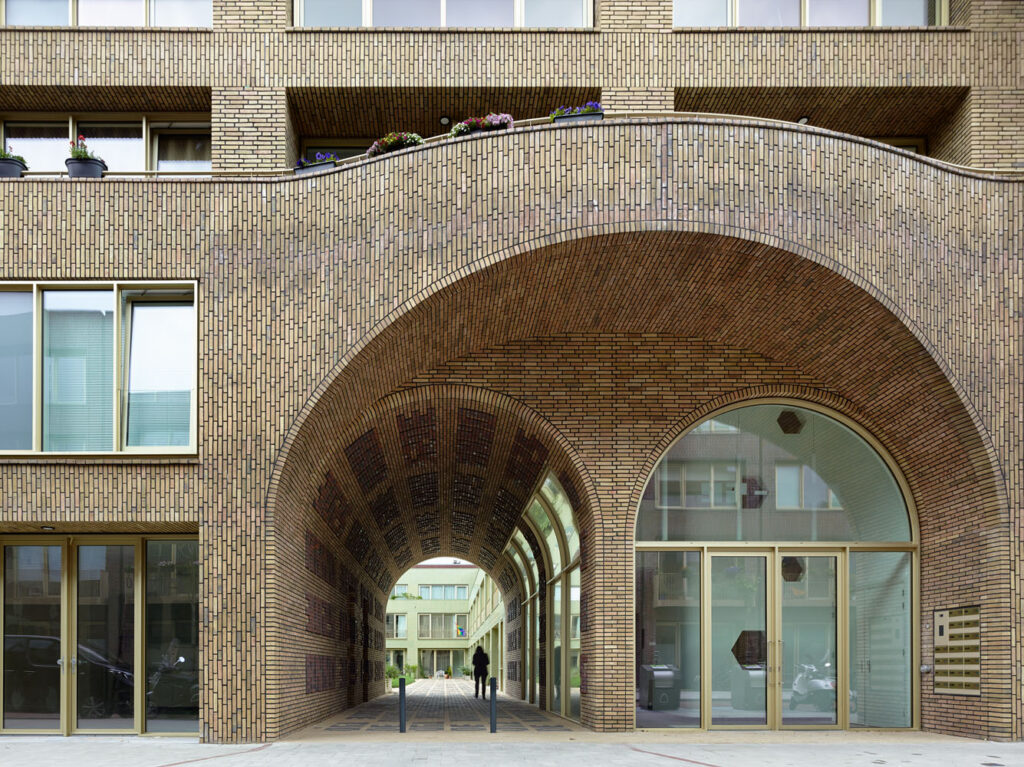 The entryway of the 80-unit apartment complex in Amsterdam.