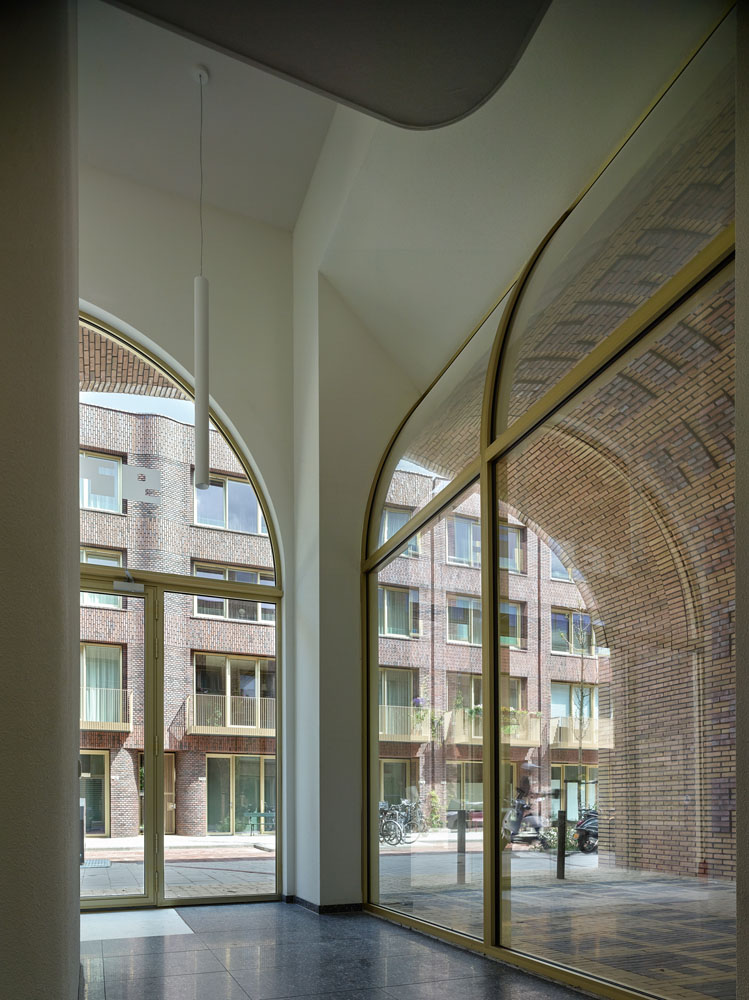 The building's glassed-in entryway