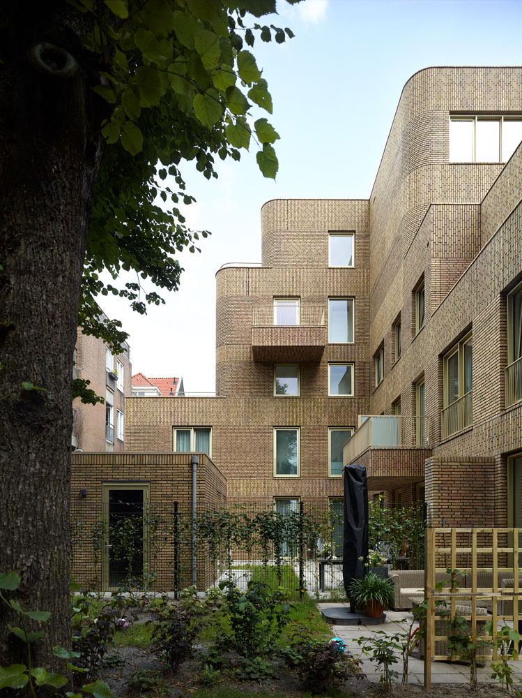 angular brickwork and garden areas in the back of the complex