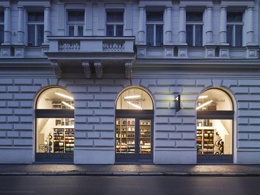 An exterior facade of a rope shop in Prague