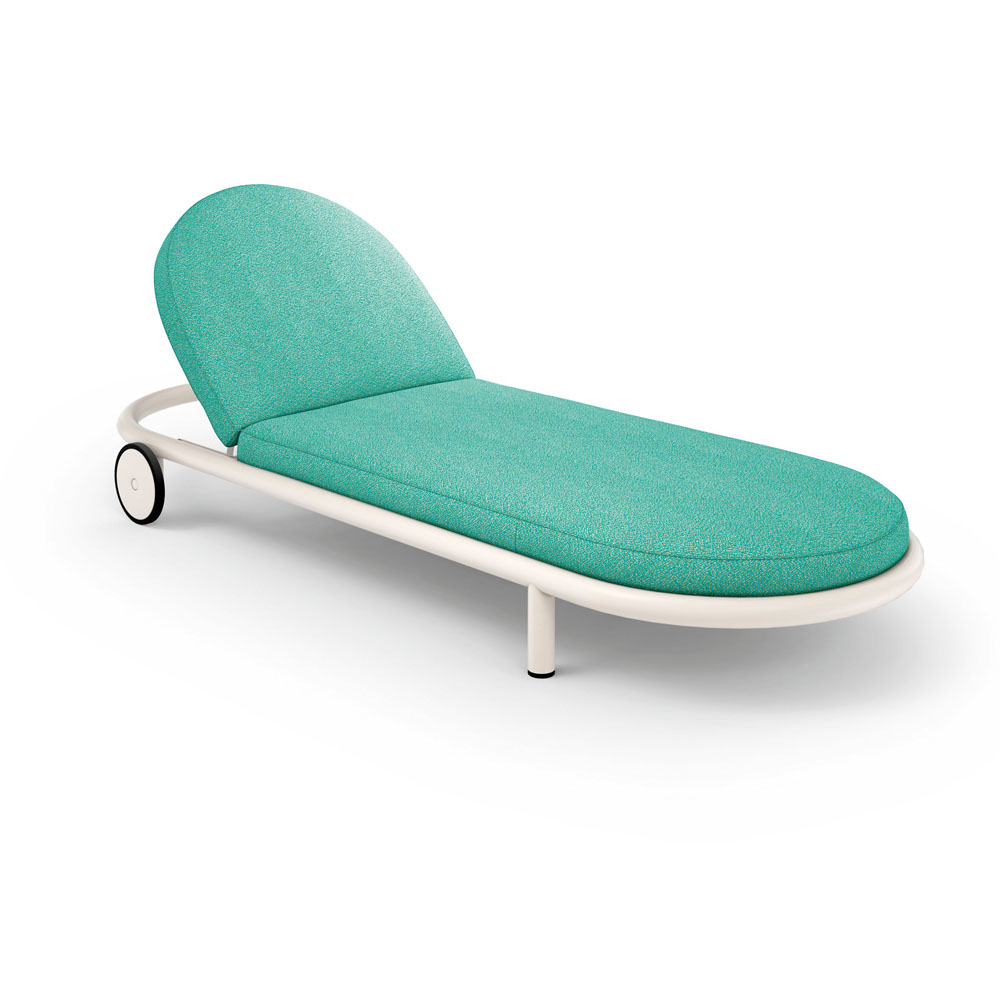 A teal sunbed with wheels.