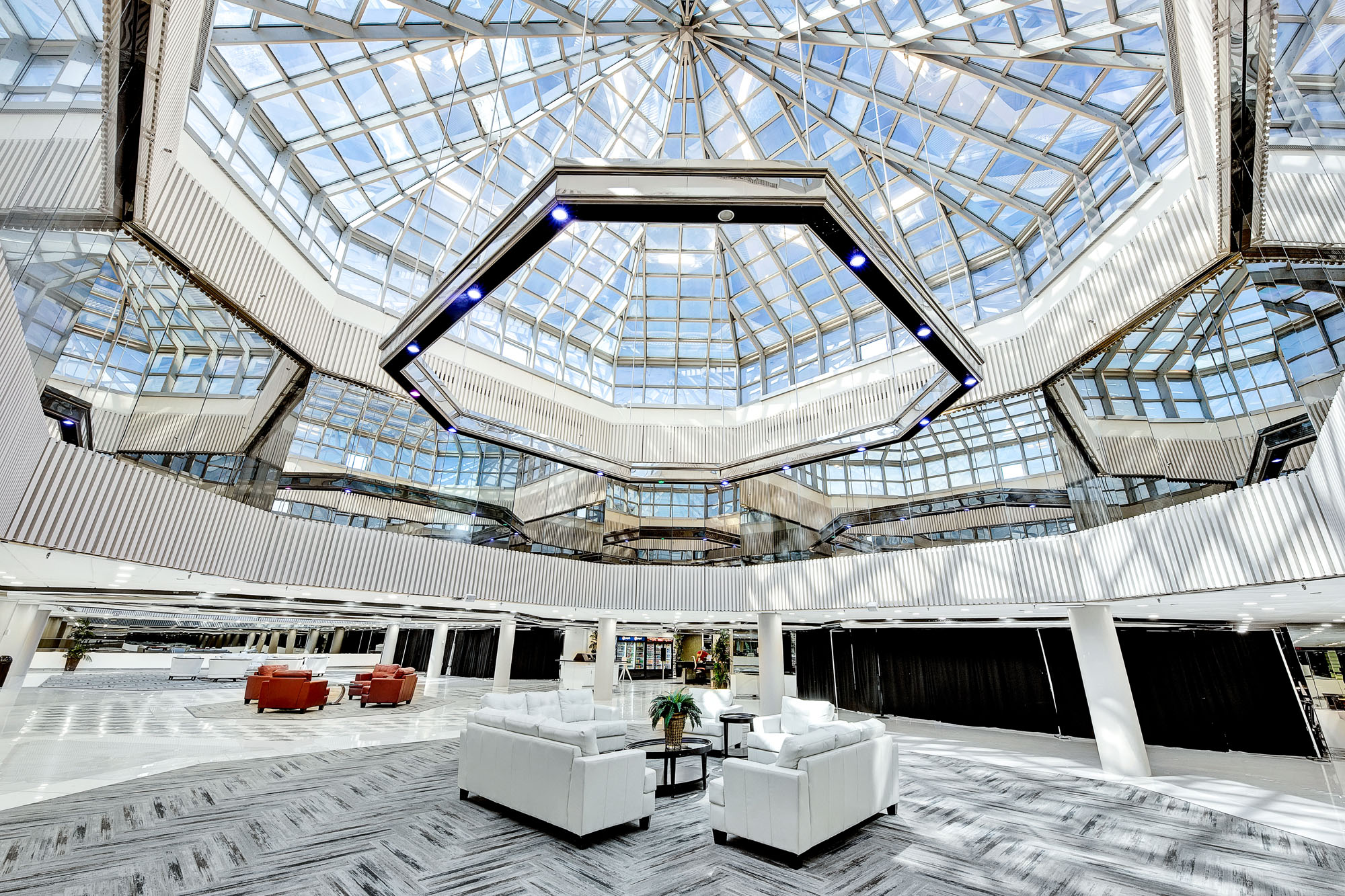 Skylit interior conference space