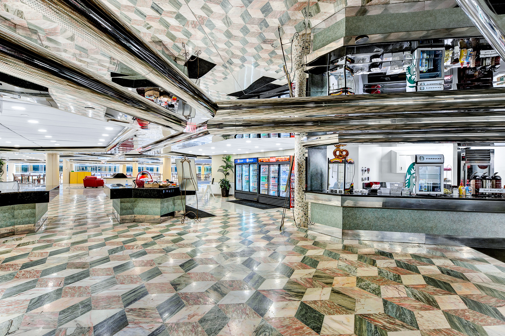 A cafeteria with chrome ceilings