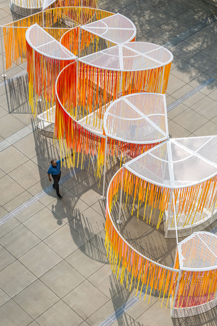 An aerial closeup of Byrony Robert's orange and white Outside the Lines installation at the High Museum of Art in Atlanta, Georgia.