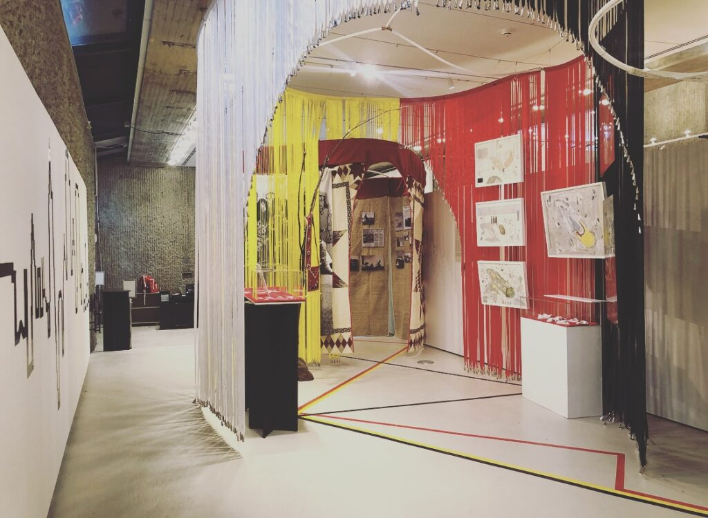 An installation view of an Indigenous architecture exhibition