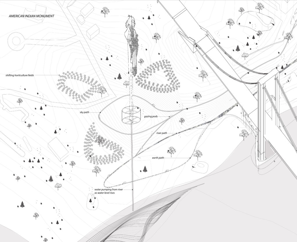 A topographical drawing showing a bridge and a design for an american indian monument.