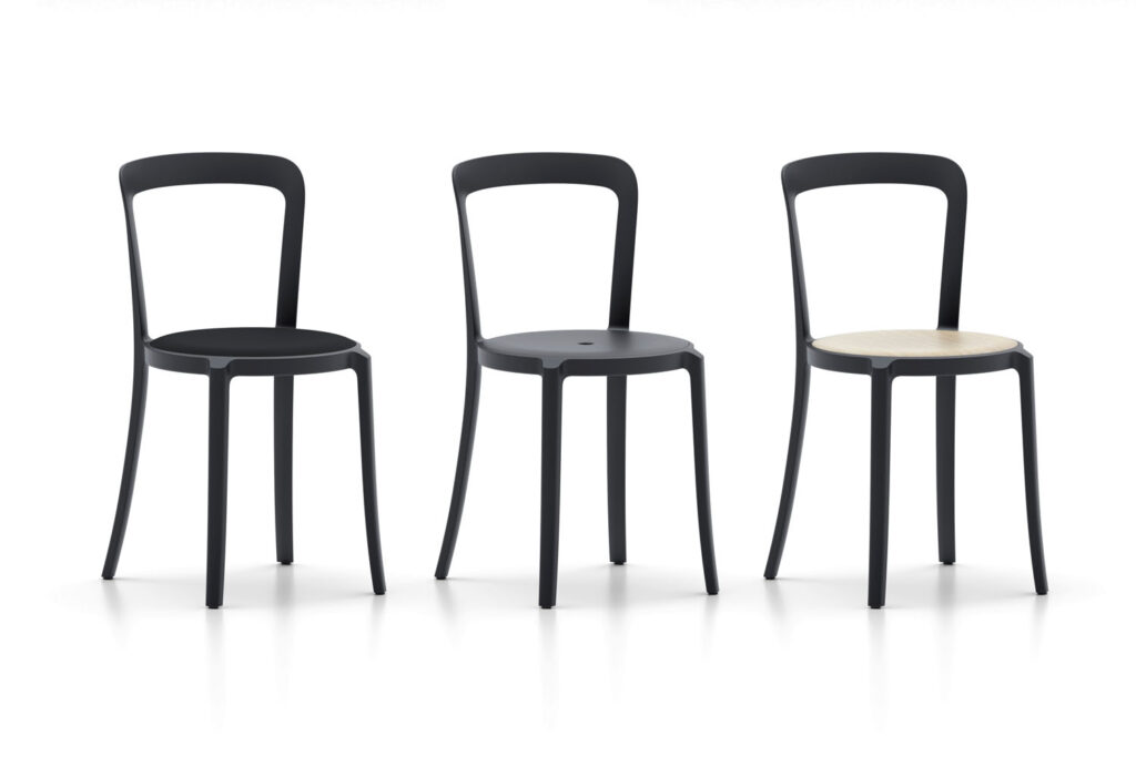 Three black chairs