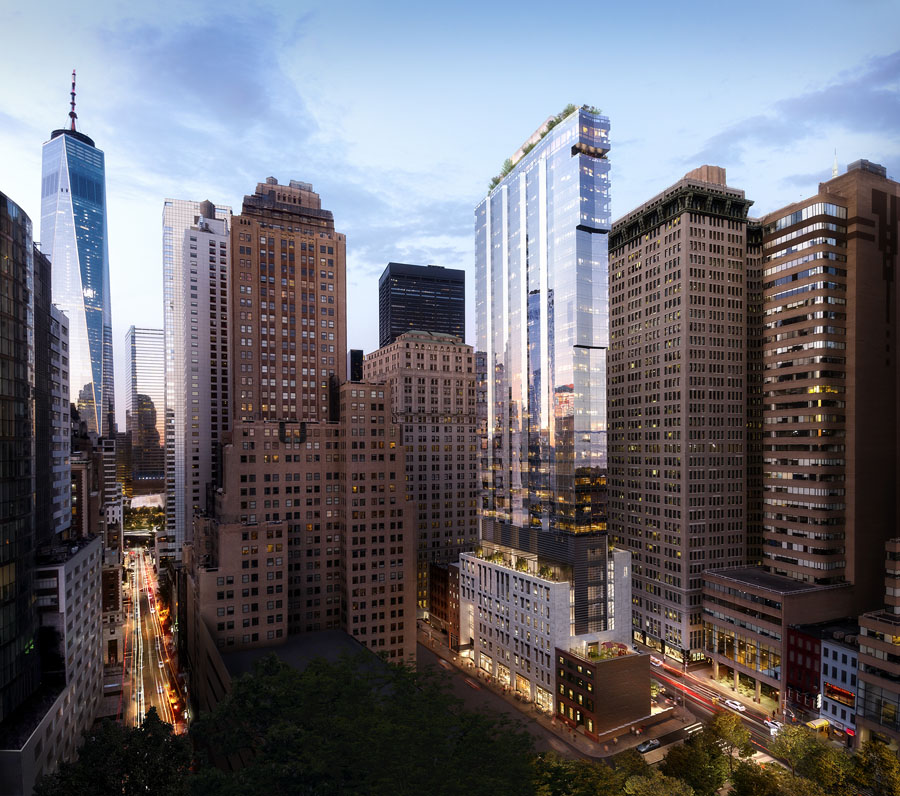 Aerial view of Lower Manhattan. Rendering of the Dickey House and FXCollaborative's glass highrise condo building with the freedom tower in the background.
