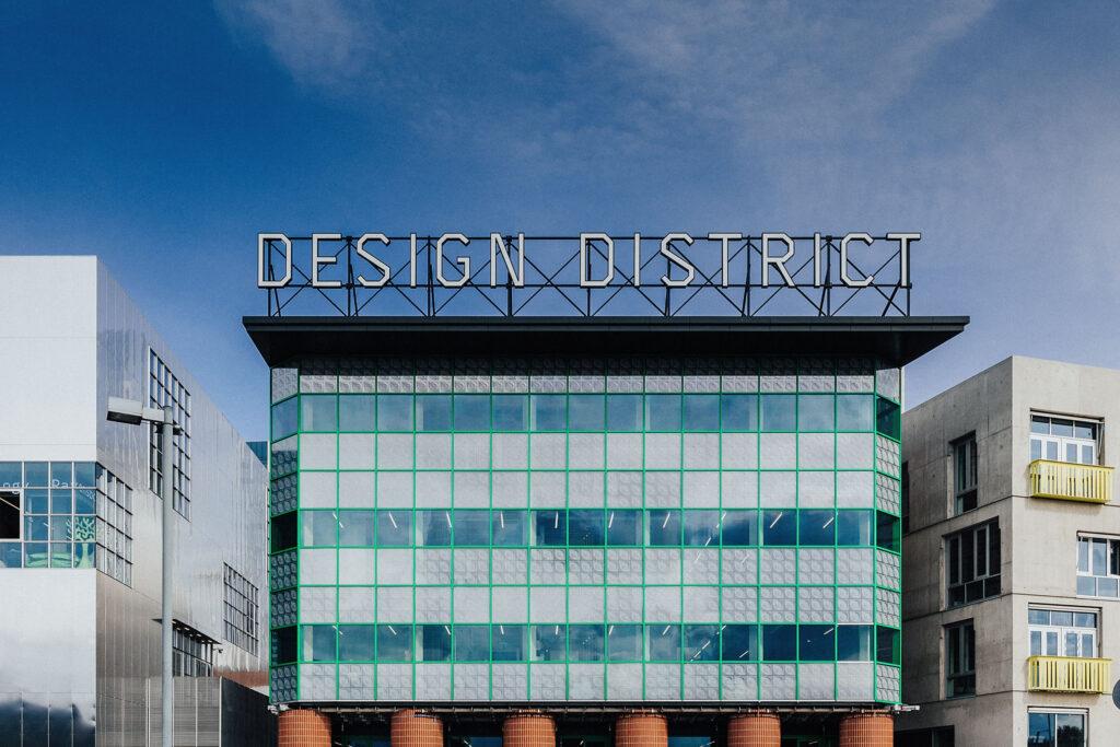 Design District sign on building