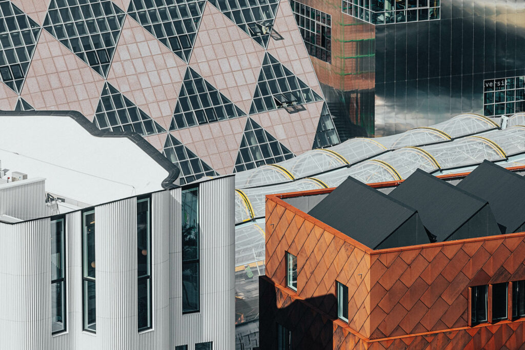 Aerial view of five design district buildings.