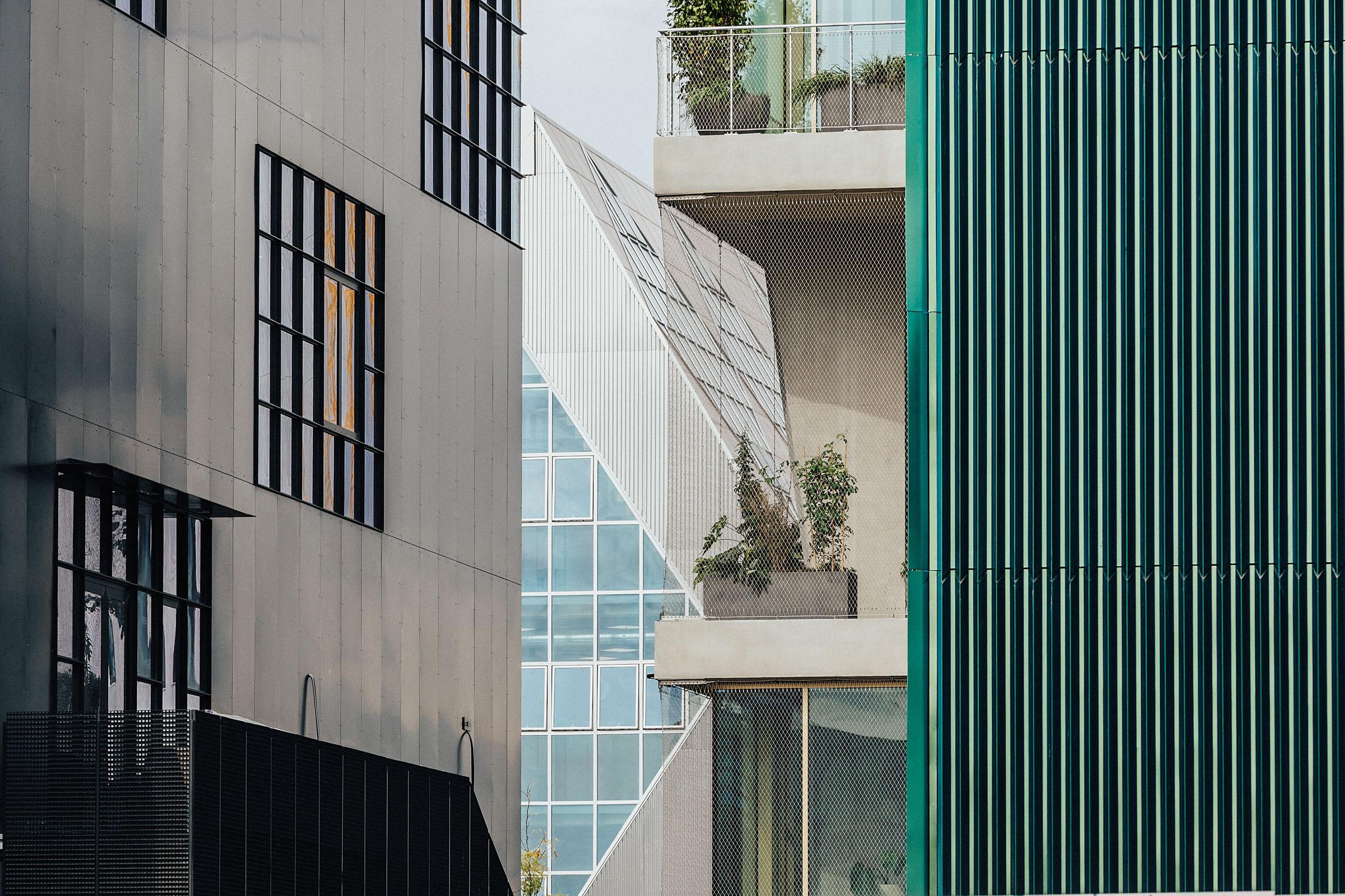 Four building facades
