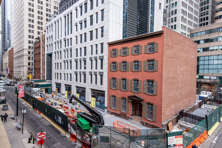 A four story building in lower Manhattan, the Dickey House, under construction.
