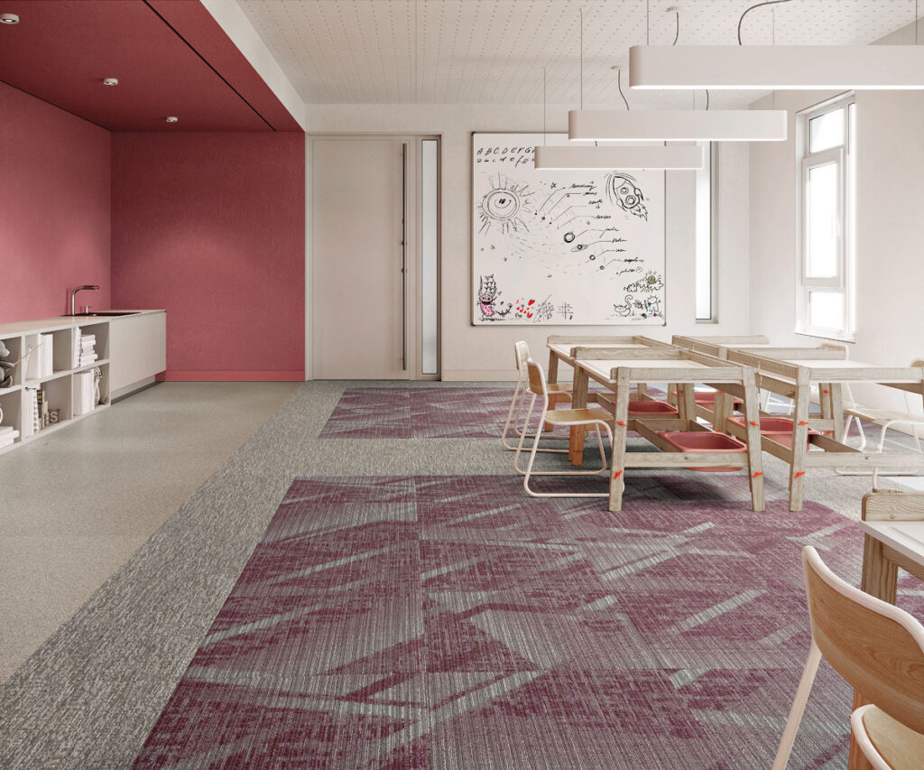 Googie collection from Mannington Mills installed in a corporate setting