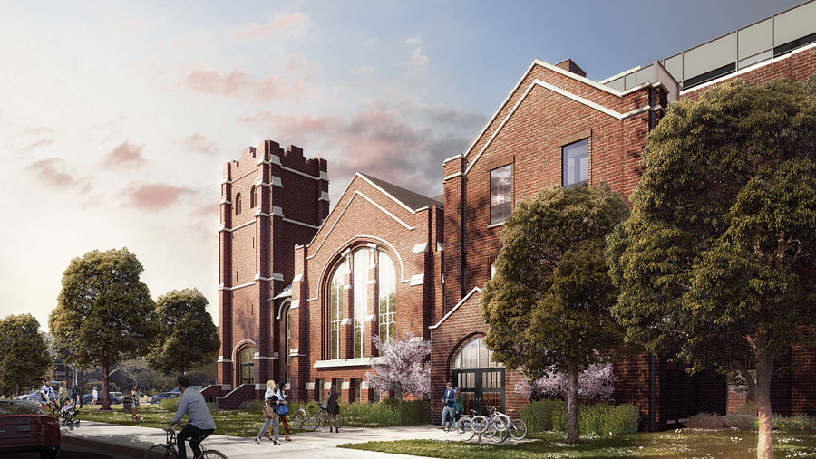 A digital rendering of a brick church on a treelined street. Cyclists and pedestrians are walking by.