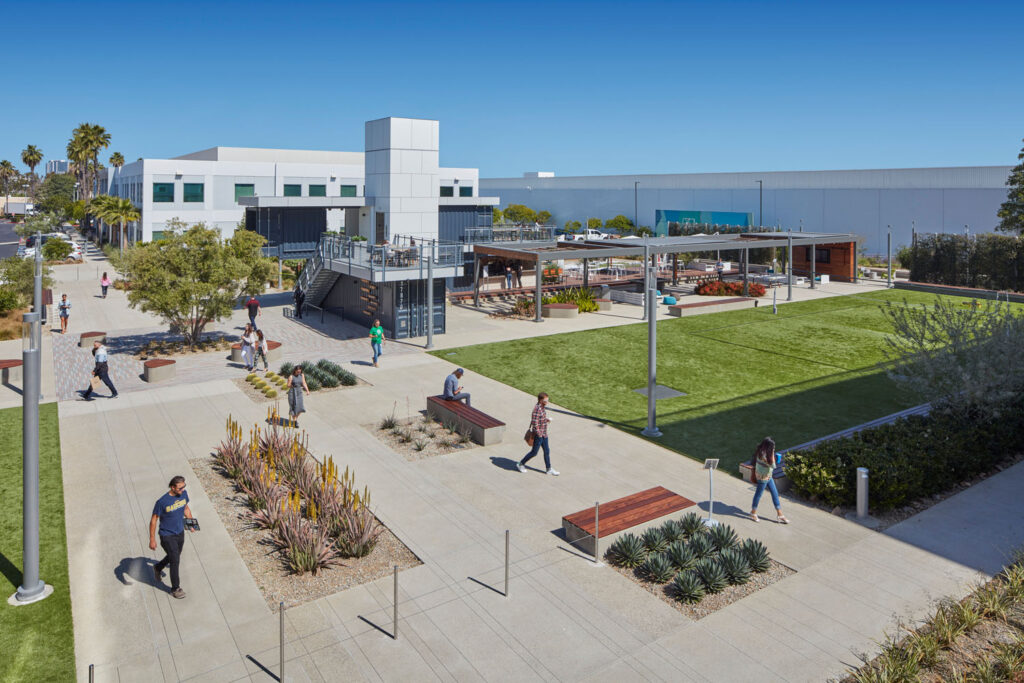An outdoor workplace campus designed by IA Interior Architects