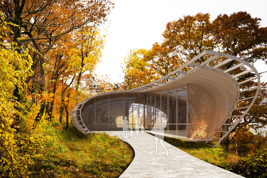 A rendering of a concept of a Lenape Center showing a contemporary curvilinear building amidst a forest in autumn.