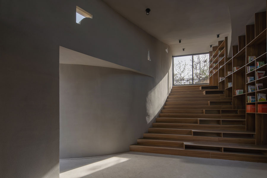 Interior staircase and shelving