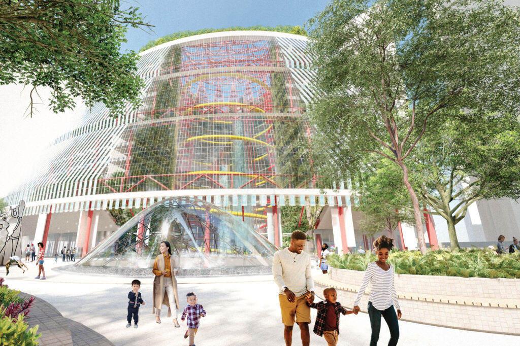 Rendering for transforming the Thompson Center into a public pool