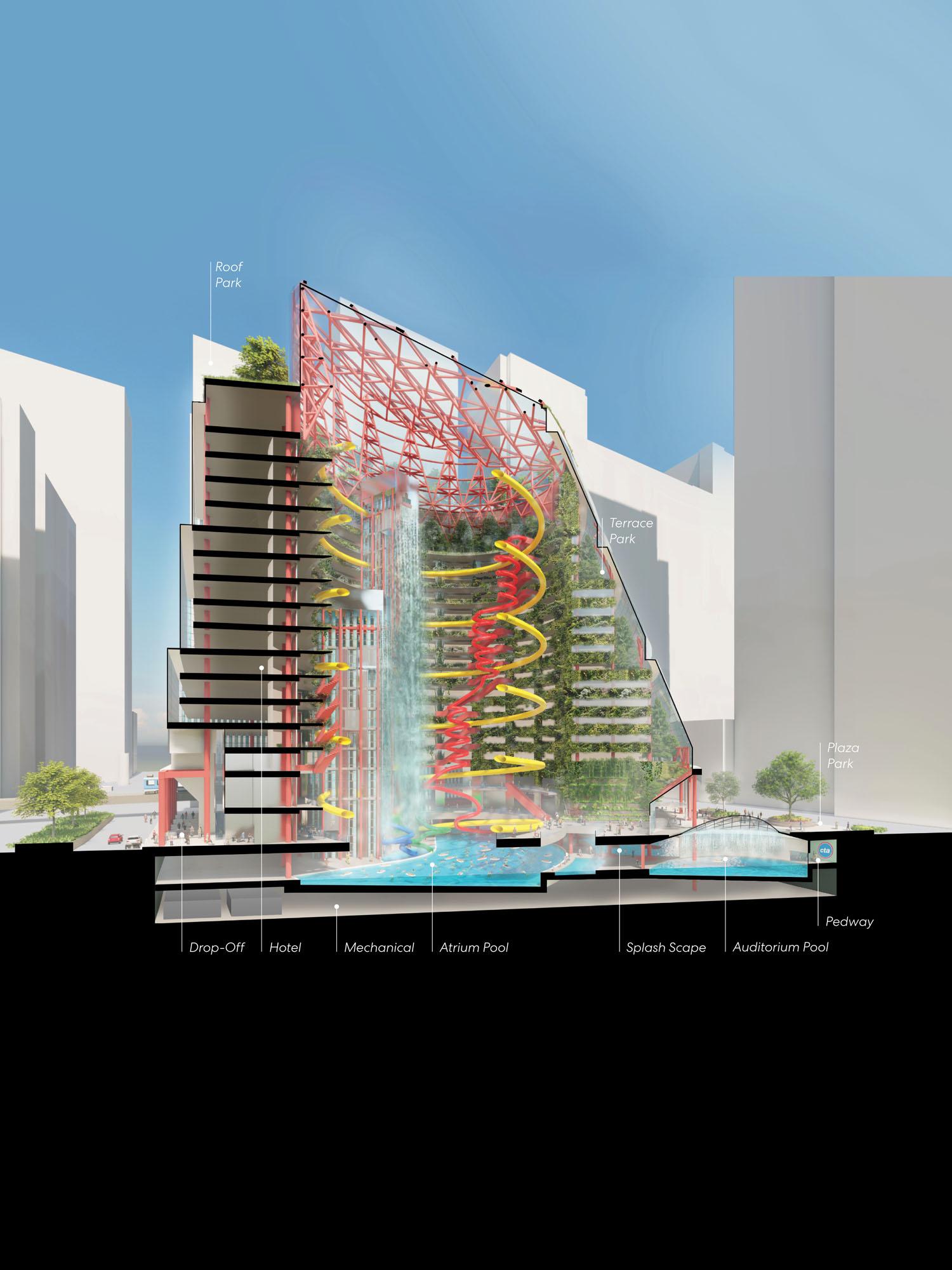 public pool elevation rendering