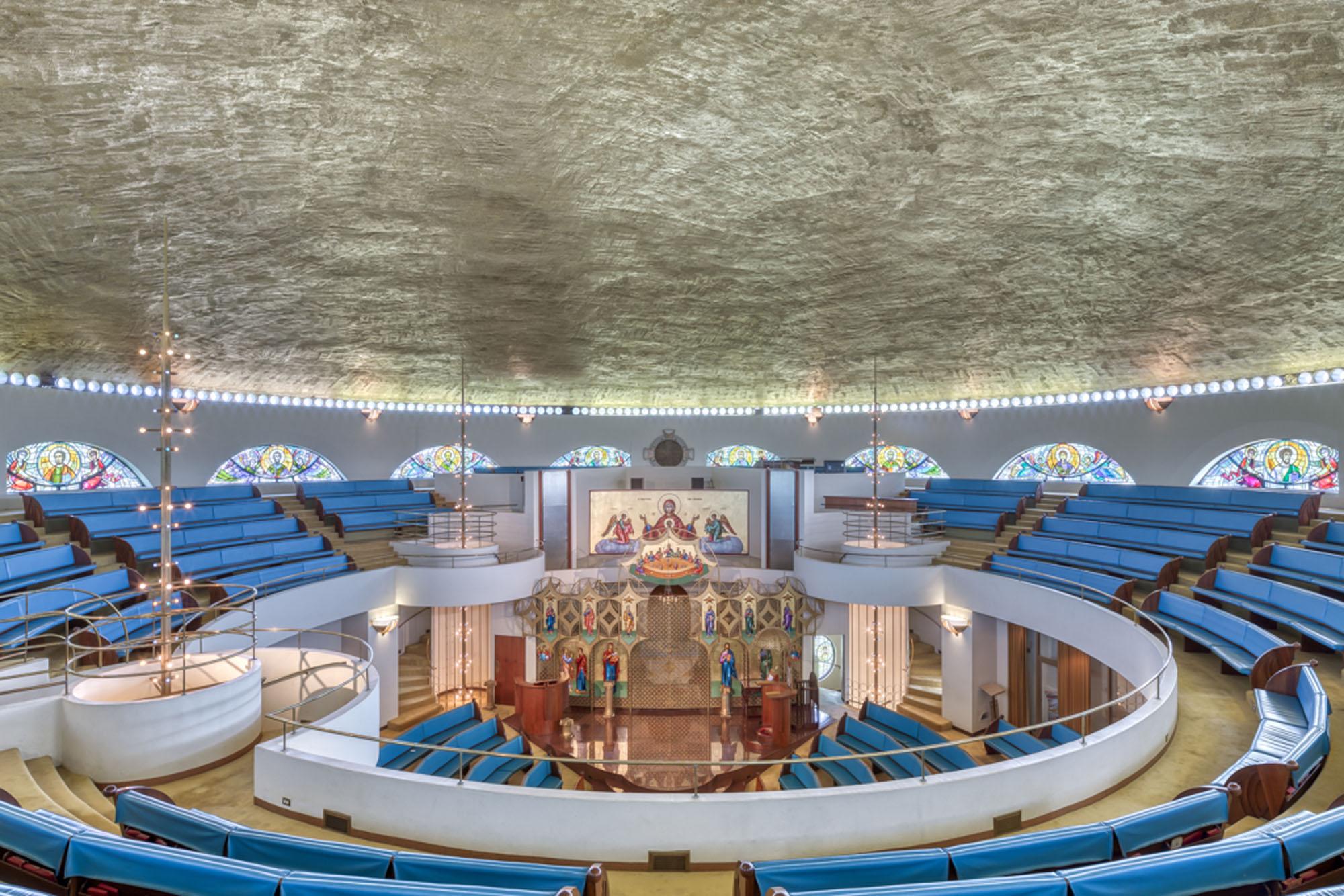 Interior of a circular church building