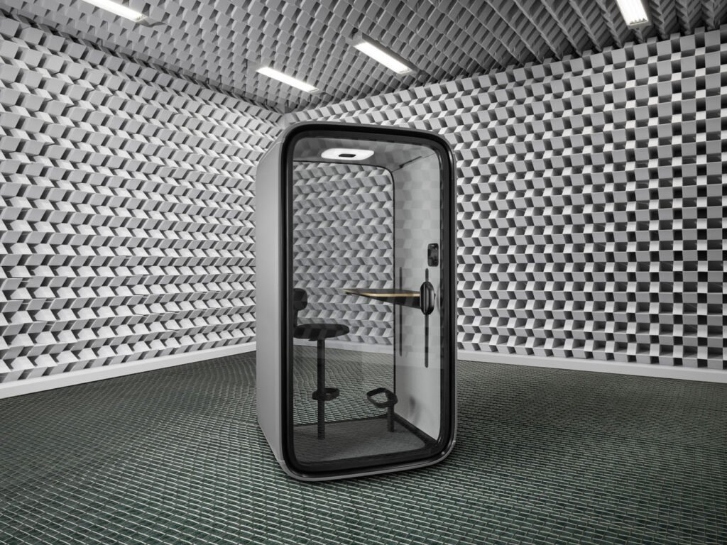 A sound proof privacy booth for phone calls