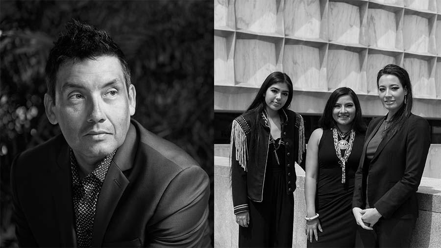 Black and white photos of Indigenous architecture residents Chris Cornelius (Oneida), Anjelica S. Gallegos (Santa Ana Pueblo/Jicarilla Apache), Charelle Brown (Kewa Pueblo), and Summer Sutton (Lumbee).