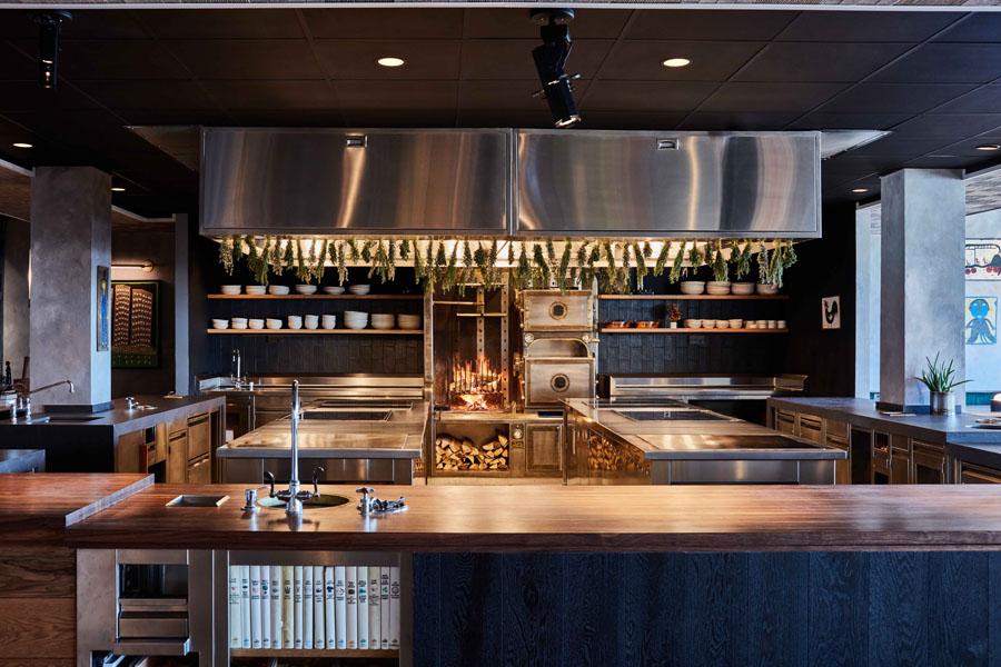 interior of restaurant showing an open kitchen