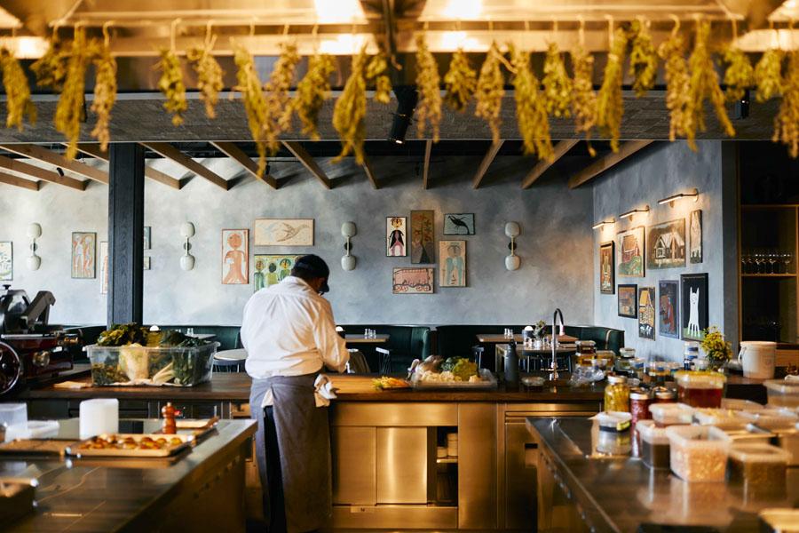 interior of an open kitchen in restaurant