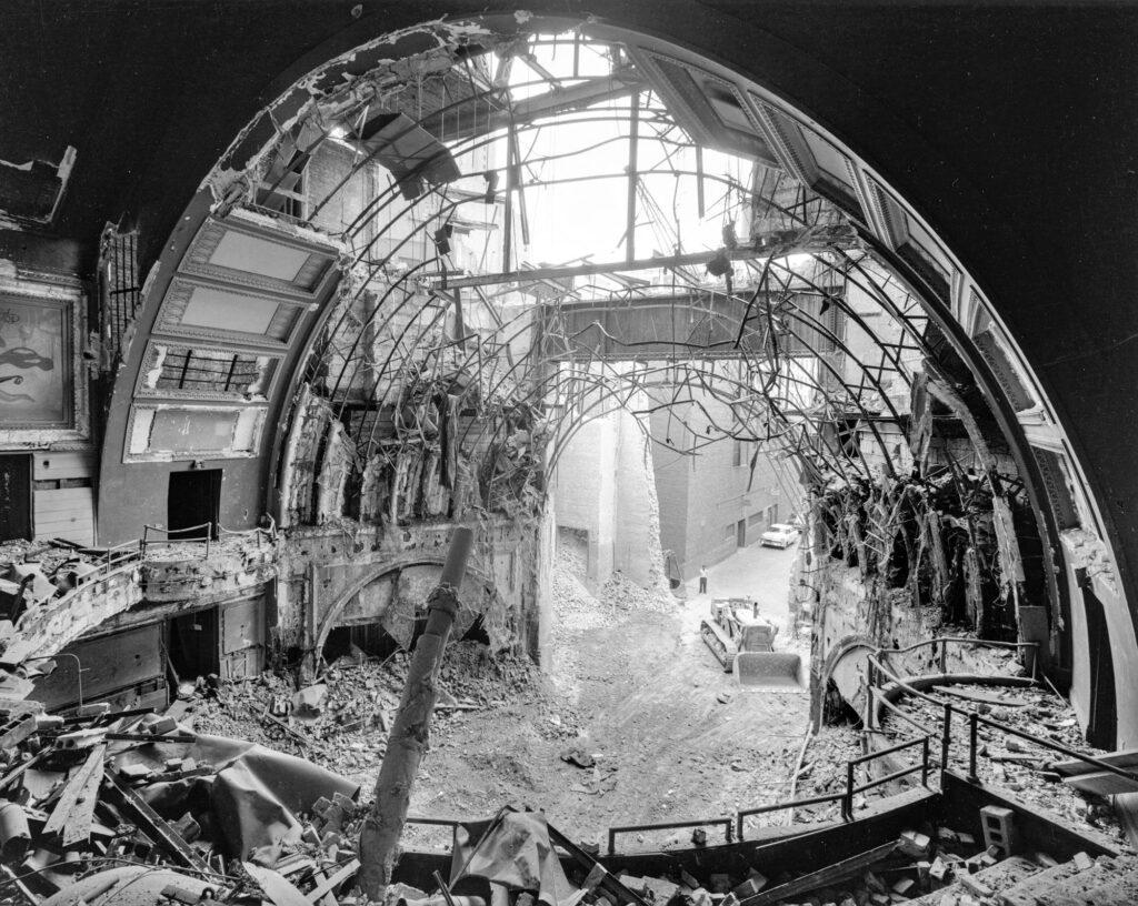 Interior of Garrick Theater during demolition