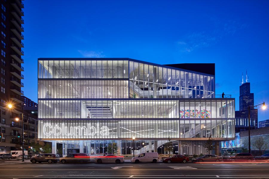Building exterior, glass facade, evening