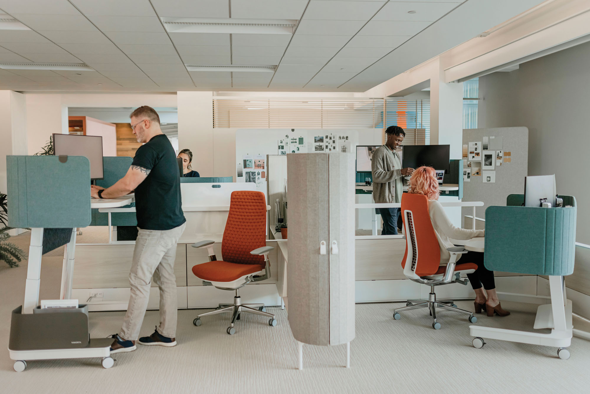 office interior with workstations