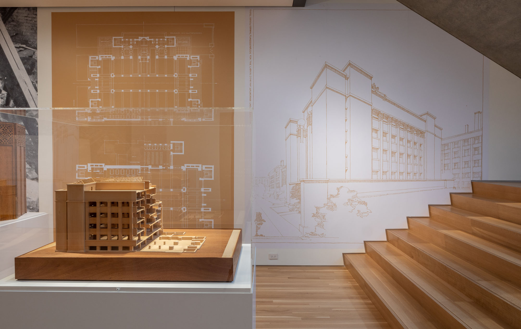Models and drawings of the Larkin Building.