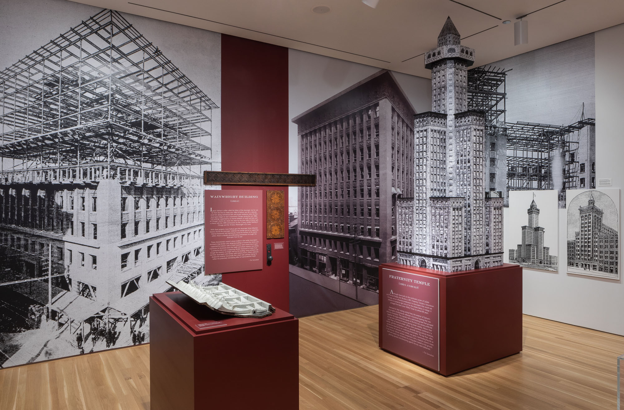Exhibition view, Garrick Theater models