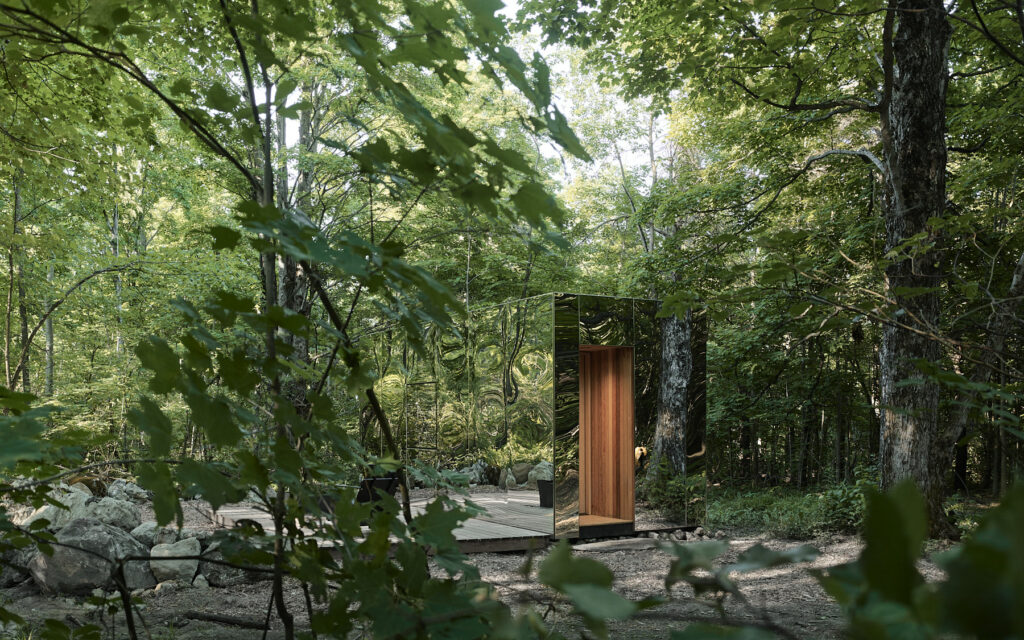 Reflective cabin in the woods