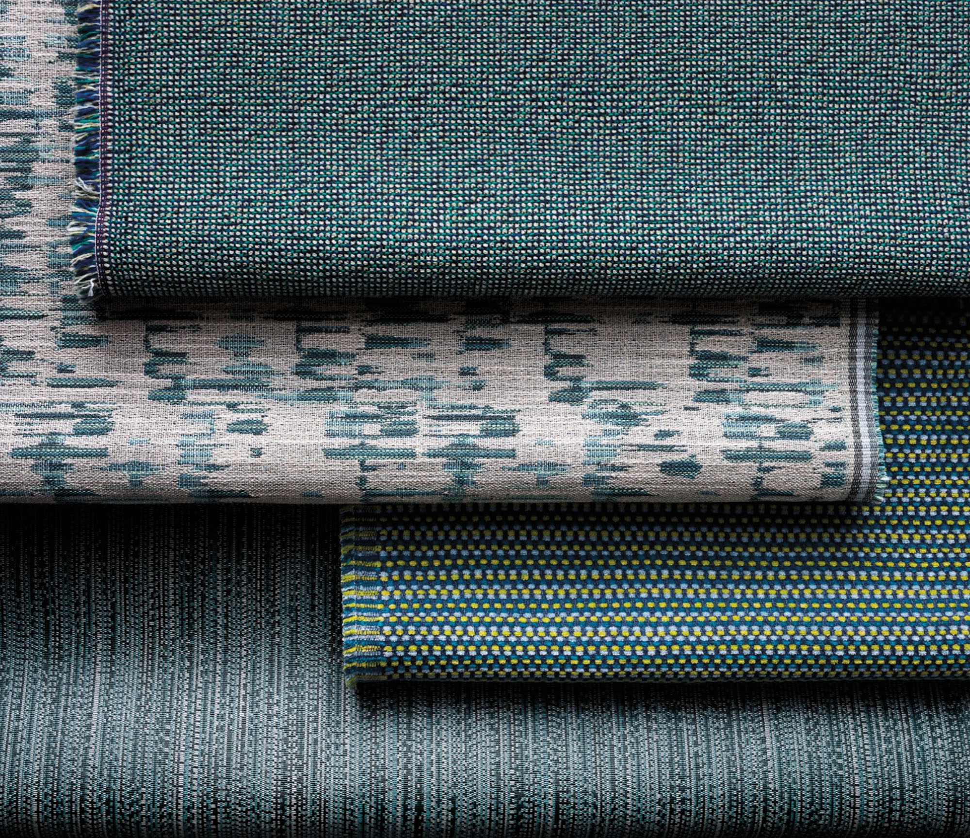 green fabric swatches