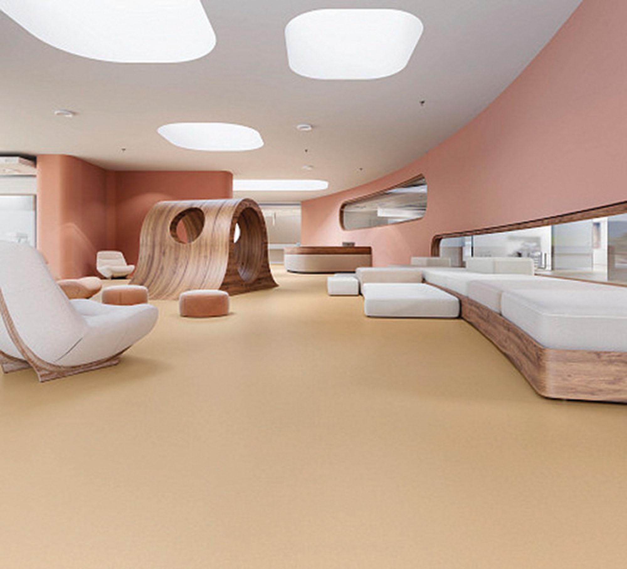 A pink room with linoleum floor