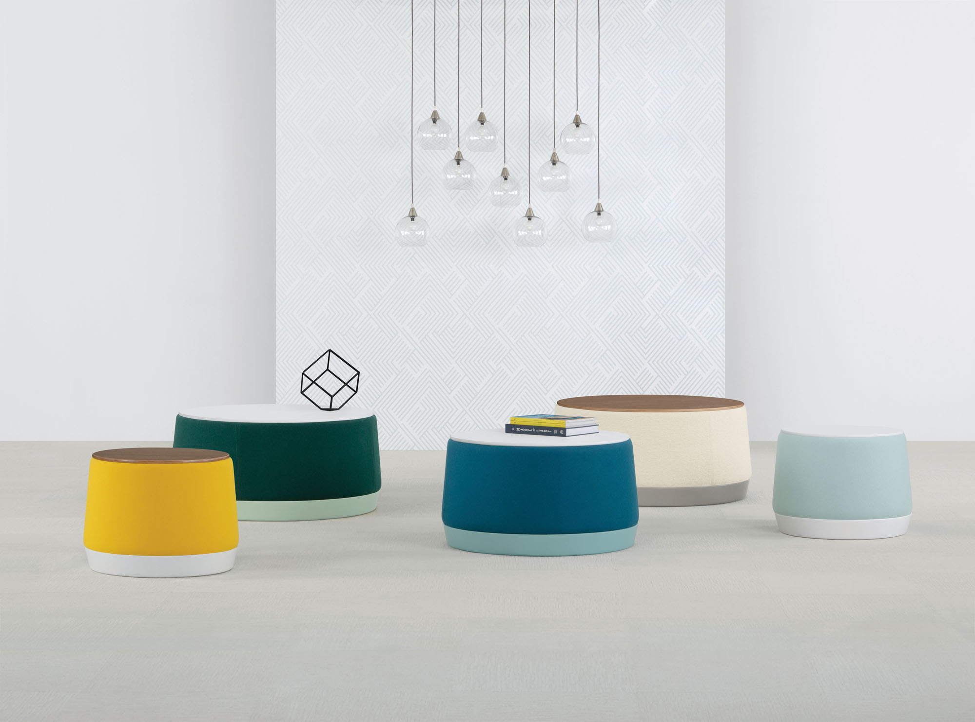 a set of disc shaped chairs