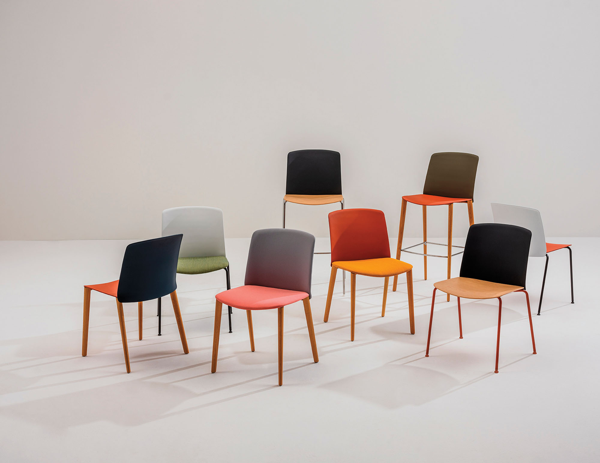 A group of colorful chairs
