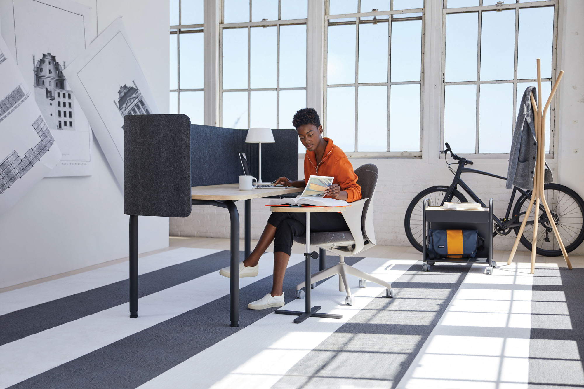 a mobile workstation and side table.